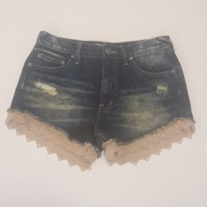 Free People | Lacey Distressed Boho Lace Shorts 25